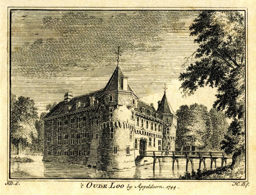 Kasteel het Oude Loo in Apeldoorn. Tekening Jan de Beijer, gravure Hendrik Spilman(Uit: Het Verheerlykt Nederland, Isaac Tirion, 1745/1774)
